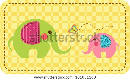 Two elephants with a butterfly on a checkered background with stitch border. EPS10 - stock vector