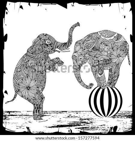 two elephants with floral decoration on black background  - stock vector