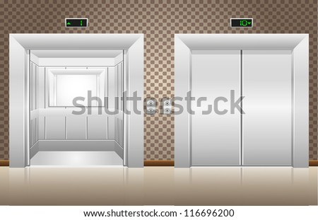 two elevator doors open and closed vector illustration - stock vector