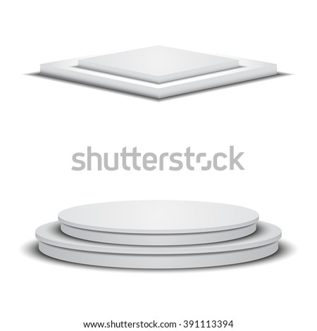 Two empty white stages. Square and round empty podiums. Vector stages. White empty vector podiums. Square and round empty platforms. - stock vector