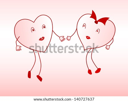Two enamored hearts are drawn to each other