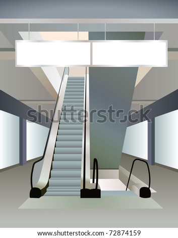 two escalators in mall and plates, vector