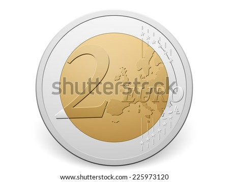 Two euro coin on a white background. - stock vector
