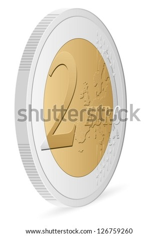 two euro coin on a white background. Vector illustration. - stock vector