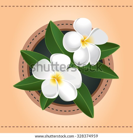 Two exotic flowers greeting card hawaiian stock vector 328374959 two exotic flowers greeting card hawaiian plumeria vector ilustration white blossom in circle frame m4hsunfo