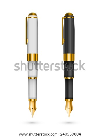 Two expensive ink pens isolated, black and white with gold. Vector illustration - stock vector