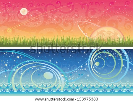 Two fantastic nature landscape with grass and sea. - stock vector