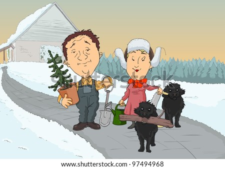 Two farmers with two dogs and tools go to work - stock vector