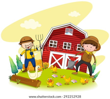 Two farmers working on the farm