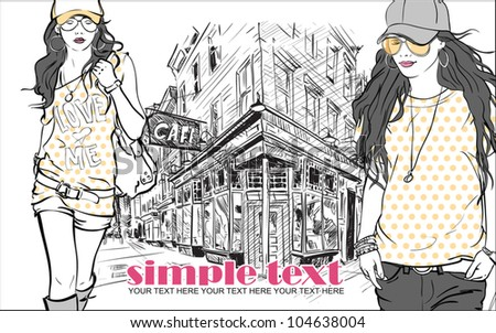 Two fashion girls with beret in sketch style on a street-cafe background. Vector illustrator. - stock vector