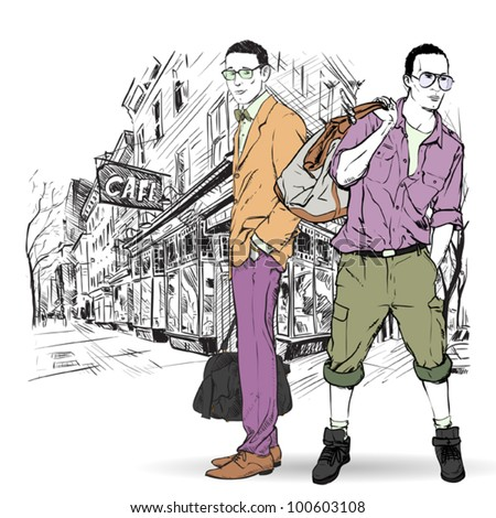 Two fashion guys in sketch-style on a street-cafe-background. Vector illustration. - stock vector