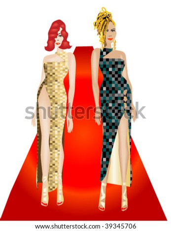 Two females in evening gowns