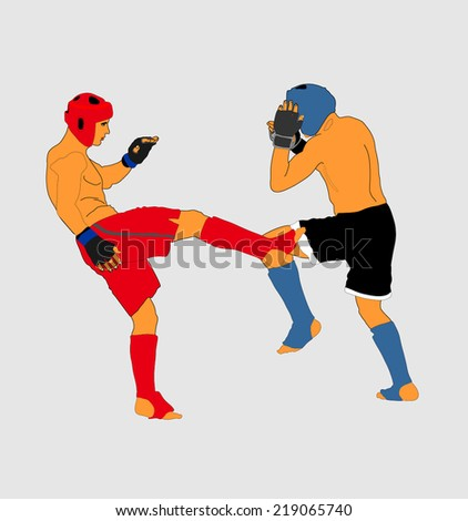 Two fighters in ring vector illustration.Fight Fighter Muay Thai Boxing Karate Taekwondo Wrestling Kick Punch Grab Throw People Icon Sign Symbol Pictogram. In octagon. - stock vector