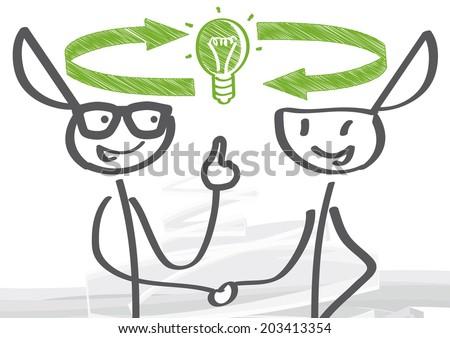 Two figures will exchange ideas - stock vector