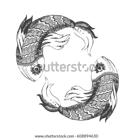 Two fish drawing graphic vector, Aquarium fish, zentagle, vector illustration