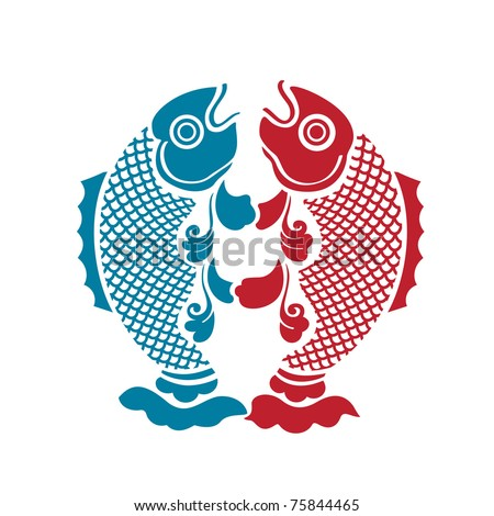 Two fishes - stock vector