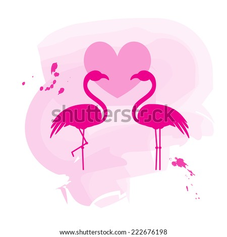 Two flamingos in love on stylish pink background - stock vector