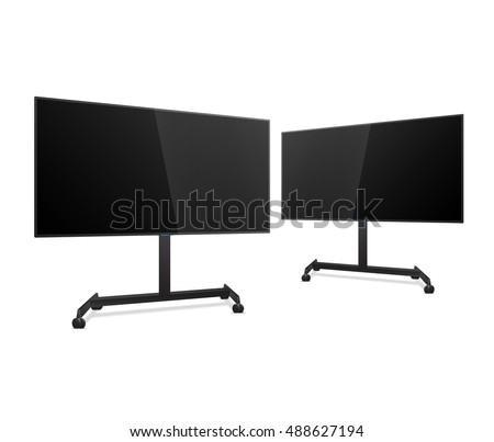 Two Flat Smart TV Mockups on the Floor Stand with wheels. Realistic Vector Screen