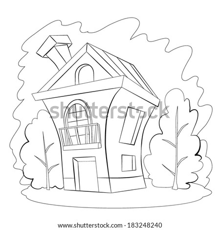 Two-floor comfortable house with a balcony and fire-place pipe, standing on a hill next to two green trees. Coloring book. - stock vector