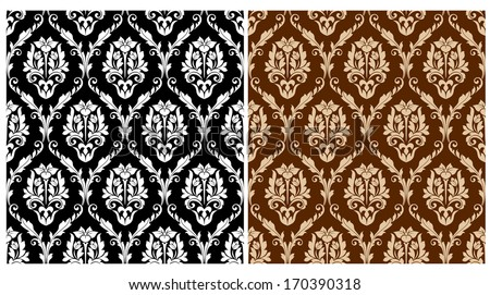 Two floral seamless arabesque patterns in different colours suitable for textile or print design. Rasterized version also available in gallery - stock vector