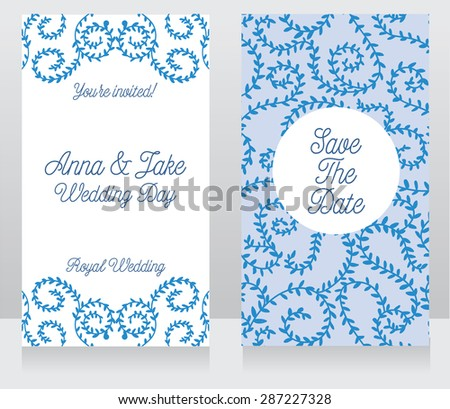 two floral wedding cards, vector illustration - stock vector