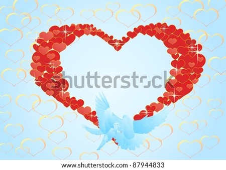 Two flying dove on a background of abstract hearts. - stock vector