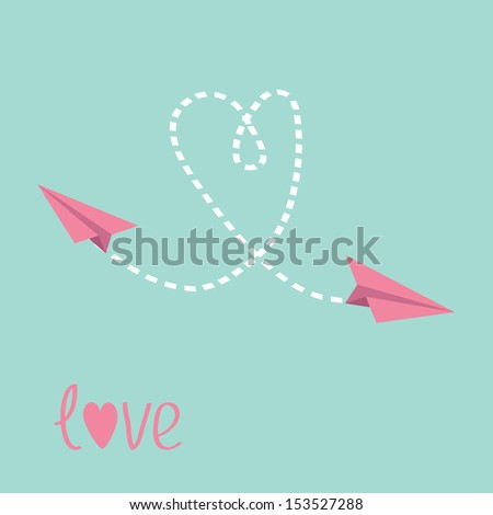Two flying  paper planes. Heart in the sky. Love card. Vector illustration. - stock vector