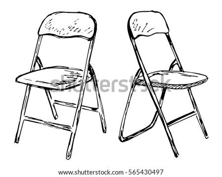 two folding chairs on a white background isolation vector illustration in a sketch style