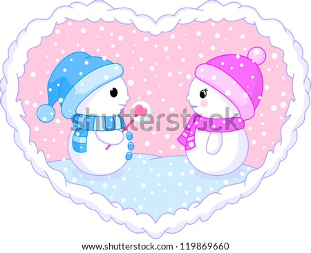 two follow in love snowman - stock vector