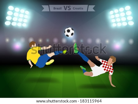 Two football players in jump to strike the ball at the stadium, Soccer players brazil versus croatia, Brazil 2014 group A Vector illustration modern design template  - stock vector