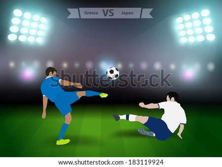 Two football players in jump to strike the ball at the stadium, Soccer players greece versus japan, Brazil 2014 group C Vector illustration modern design template - stock vector