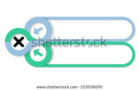 Two frames for your text and multiplication symbol - stock vector