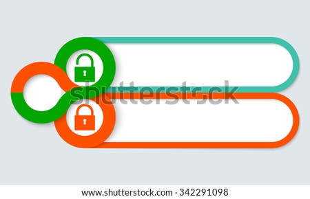 Two frames for your text and padlock - stock vector