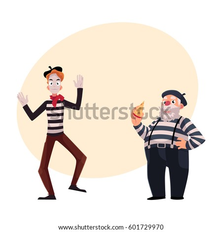 Young And Old Cartoon French Mime Stock Imag...
