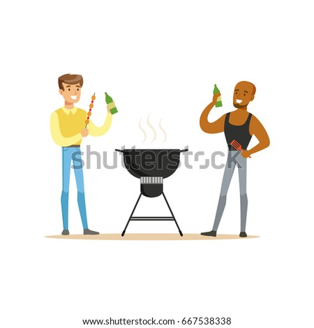 Two friends preparing barbecue on a grill and drinking beer vector Illustration