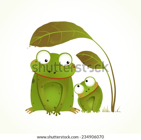 Two Frogs Mother and Baby Childish Animal Cartoon. Hand drawn watercolor style drawing of animals. Vector illustration EPS10. - stock vector