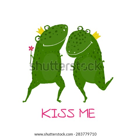 Two Frogs Prince and Princess in Love Kissing. Fairy tale green frogs with crowns presenting flower illustration.  - stock vector