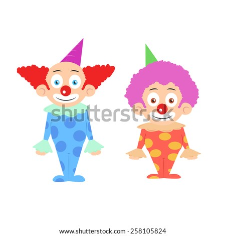 Two funny colorfull clowns cartoon characters illustration vector - stock vector