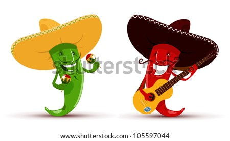 Two funny red and green chili peppers which playing guitar and maracas and singing a song - stock vector