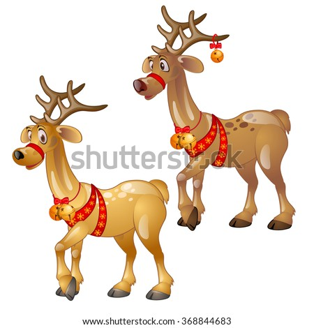 Two Funny Reindeer With Christmas Decorations. Vector.