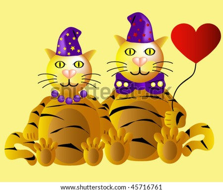 Two funny tigers in love at Valentine's Day - stock vector