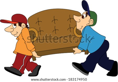 Two Furniture Movers Moving a Sofa - stock vector
