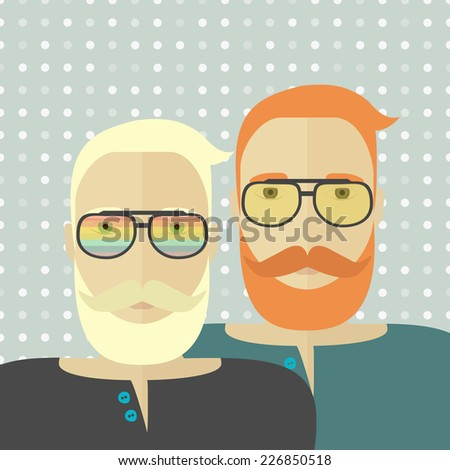 Two gay hipsters as a couple with rainbow glasses. Vector illustration. - stock vector