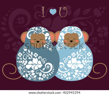 Two gay matrioshka with floral pattern love as a symbol of same-sex marriage and  poster  - stock vector