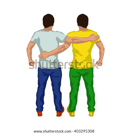 two gay silhouette - stock vector