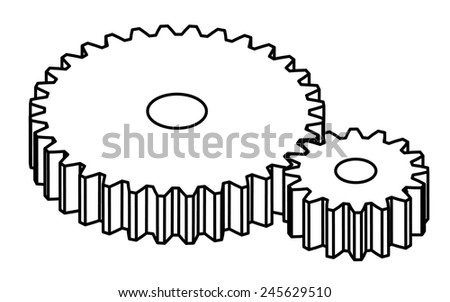 Two gears. - stock vector