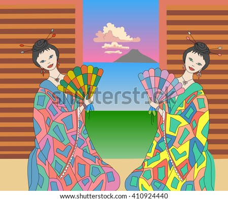 two geisha at the ceremony - stock vector