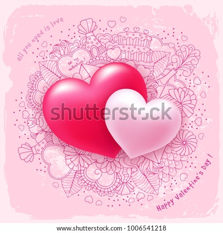 Two Red Heart Symbol Love Excellent Stock Vector 69264637 ...