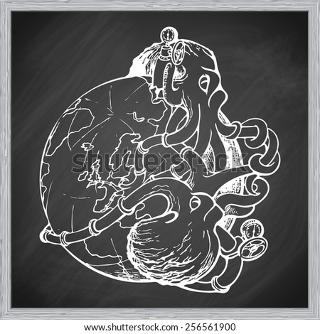 Two gigantic octopuses representing oil industry are struggling over domination on the global oil and gas market. EPS10 vector illustration in a sketchy style imitating scribbling on the blackboard. - stock vector