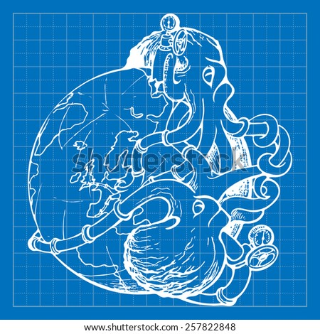 Two gigantic octopuses representing oil industry are struggling over domination on the global oil and gas market. EPS10 vector illustration imitating blueprint style scribbling with white marker. - stock vector